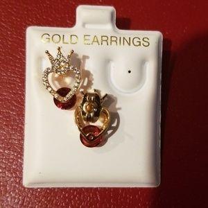 Jewelry - Gold Red Diamond cut fashionable ear stud earrings